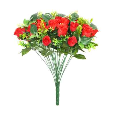 48CM RED ROSE FERN FOLIAGE X 36 BOUQUET