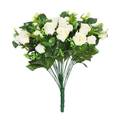 48CM CREAM ROSE FERN FOLIAGE X 36 BOUQUET
