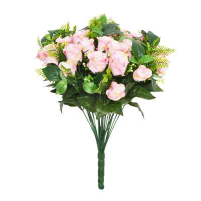 48CM PINK ROSE FERN FOLIAGE X 36 BOUQUET