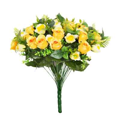 48CM YELLOW ROSE FERN FOLIAGE X 36 BOUQUET