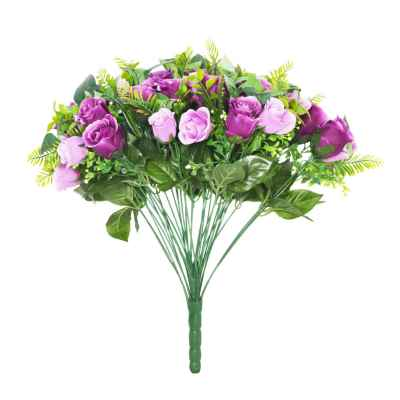 48CM PURPLE ROSE FERN FOLIAGE X 36 BOUQUET