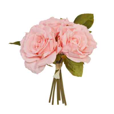 24CM MID CORAL OPEN ROSE X 3 POSY
