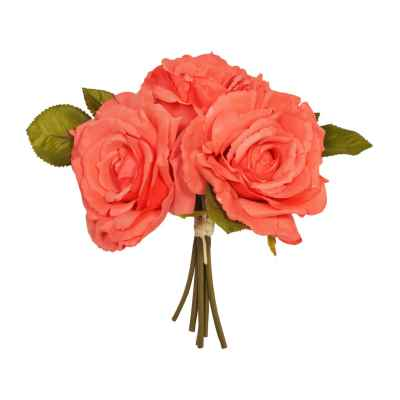 24CM CORAL OPEN ROSE X 3 POSY