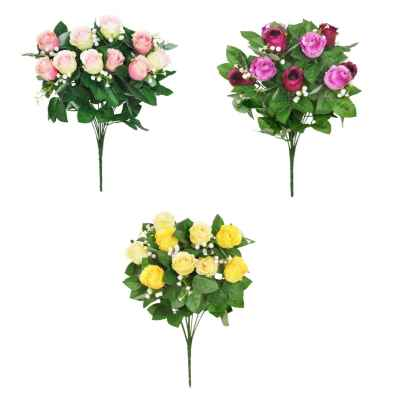 45CM ASSORTED ROSEBUD FOLIAGE GYPSOPHILA X 10