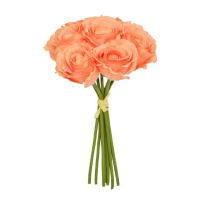 26CM CORAL OPEN ROSE X 7 HAND TIED