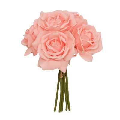 27CM MID CORAL OPEN ROSE X 5 POSY