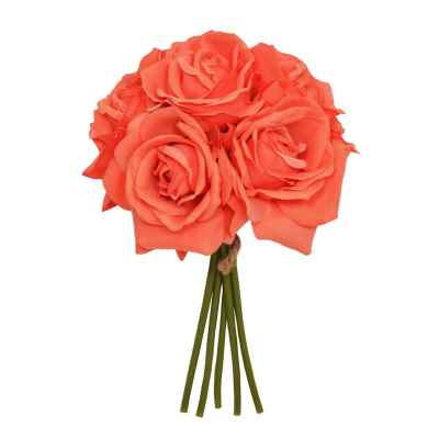 27CM CORAL OPEN ROSE X 5 POSY