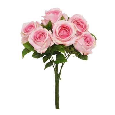 40CM PINK OPEN ROSE X 6 BOUQUET