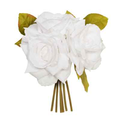 24CM WHITE OPEN ROSE X 3 POSY