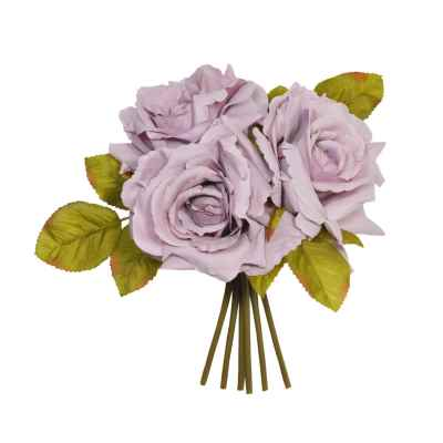 24CM LILAC OPEN ROSE X 3 POSY
