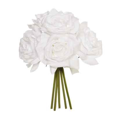 27CM WHITE OPEN ROSE X 5 POSY