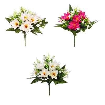 35CM WATERLILY BERRY FOLIAGE X 13 BOUQUET