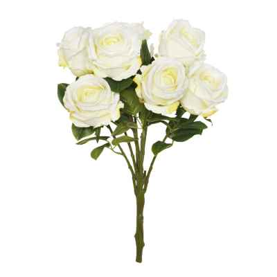 56CM CREAM OPEN ROSE X 7 BOUQUET