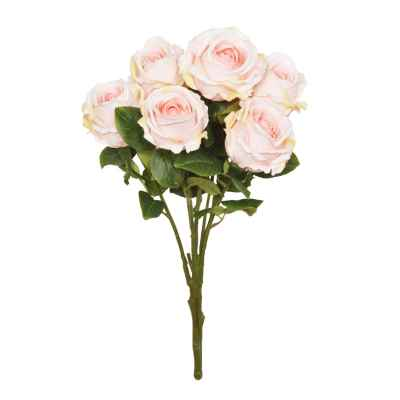 56CM LIGHT PINK OPEN ROSE X 7 BOUQUET