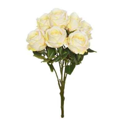 56CM YELLOW OPEN ROSE X 7 BOUQUET