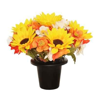 25CM YELLOW AUTUMNAL FLOWER X 16 GRAVE POT