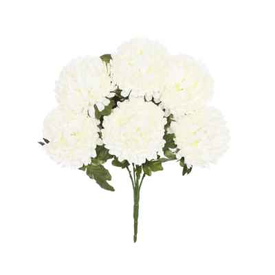 48CM CREAM BALL CHRYSANTHEMUM X 6 BOUQUET