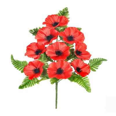 46CM RED POPPY FERN X 9 SPRAY