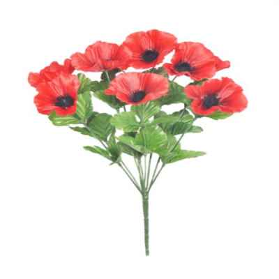 43CM RED POPPY X 9 BOUQUET