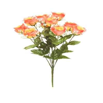 42CM SALMON OPEN ROSE GYPSOPHELIA X 10 BOUQUE