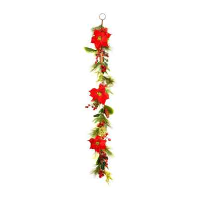 150CM RED POINSETTIA GARLAND (BOXED)
