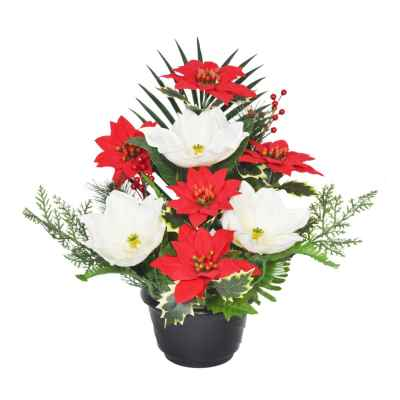 38CM POINSETTIA MAGNOLIA HOLLY BERRY POT