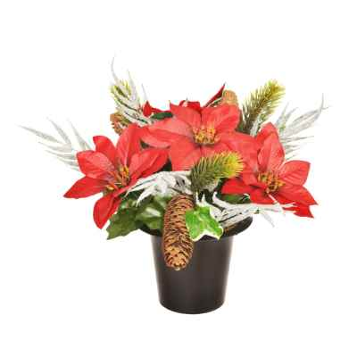 25CM FROSTED FERN PINE CONE POINSETTIA GRAVE