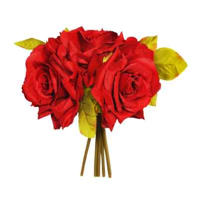 24CM RED OPEN ROSE X 3 POSY