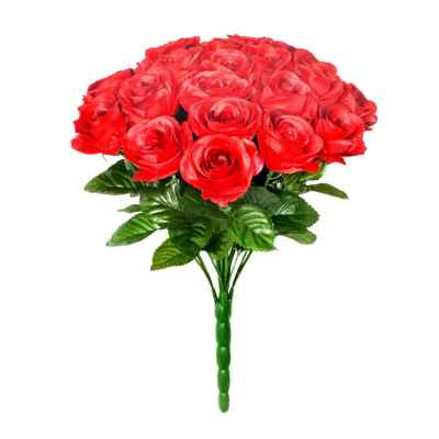 34CM RED OPEN ROSE X 24 BOUQUET
