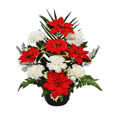 38CM POINSETTIA CARNATION IN WEIGHTED POT