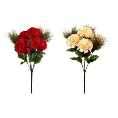 CARNATION PINE HOLLY X 7 BOUQUET