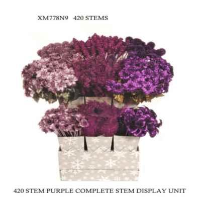 PURPLE GLITTER F.D.U.(420 STEM, 9 BUCKETS)