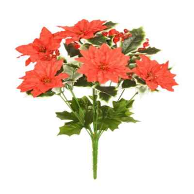 42CM RED POINSETTIA GLITTER BERRY HOLLY X 14