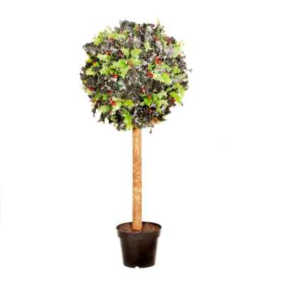 60CM RED BERRY FROSTED HOLLY BERRY TOPIARY IN